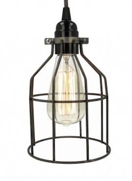 Lampa z klatką stal surowa